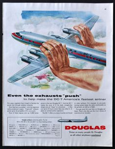 1954 Douglas Aircraft Airplane Vintage Print Ad - DC-7 airline - Fastest