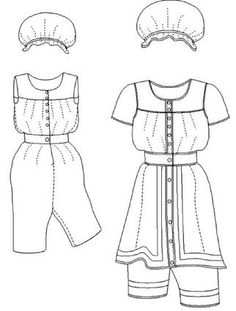 1880's Ladies' Bathing Suit sewing pattern from the Mantua-Maker. Make with a yoked blouse, attached drawers, and separate skirt.