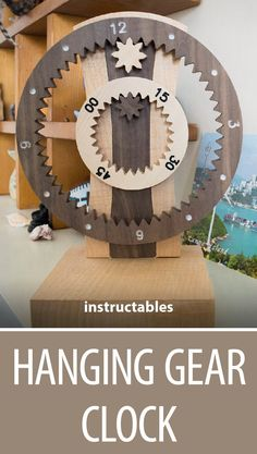 Hanging Gear Clock  #home #decor #woodworking