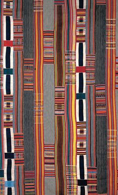 Detail from a Kente cloth from the Ewe people of Ghana, 19th century, Silk and Cotton, British Museum, London