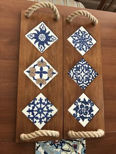 24 Popular Wooden Home Architecture Tile Crafts, Wood Crafts, Diy And Crafts, Ceramic Painting, Painting On Wood, Ceramic Art, Diy Wood Projects, Woodworking Projects, Blue Pottery