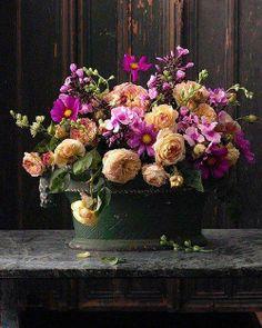 Gorgeous flowers bouquet, like a living century Dutch flower painting! Beautiful Flower Arrangements, Fresh Flowers, Floral Arrangements, Beautiful Flowers, House Beautiful, Cut Flowers, Peach Purple Wedding, Dark Flower, Purple Wedding Centerpieces