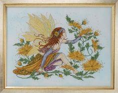 Joan Elliot Designs presents the Chrysanthemum Fairy, cross stitch with Kreinik threads.