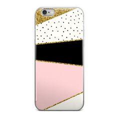 Geometric Gold Glitter Pink Black