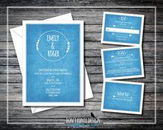 Rustic Arrow Printable Wedding Invitation - Rustic Blue Arrow Invitation - Wedding - Customized Colors