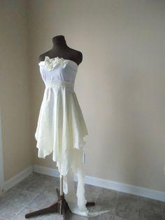 Ethereal Wedding Dress Fairy Pixie Bohemian Wispy Fantasy Bride Alternative One of a Kind Bridal Gown Mori Girl Handmade