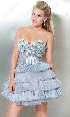 Ruffle Pleated Short Strapless Grey Prom Dress - Vuhera.com
