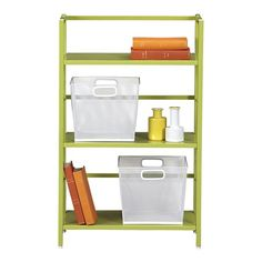 Pop Up Green Folding Three-Shelf Bookcase in Bookcases, Cabinets | Crate and Barrel