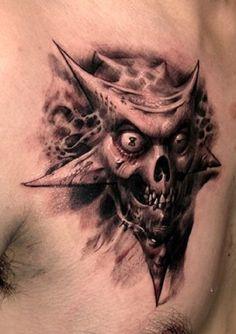 Skull Tattoos 35 - 80 Frightening and Meaningful Skull Tattoos   <3