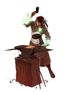 Elf Magical Smith - Pathfinder PFRPG DND D&D d20 fantasy