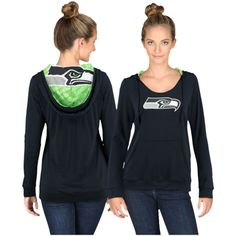 Women's Navy Blue Seattle Seahawks Cameo Hooded Long Sleeve T-Shirt