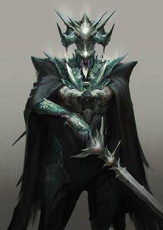Demon Knight by jeffchendesigns on DeviantArt Fantasy Races, Fantasy Armor, Medieval Fantasy, Dark Fantasy Art, Armor Concept, Concept Art, Fantasy Character Design, Character Art, Sword Mage