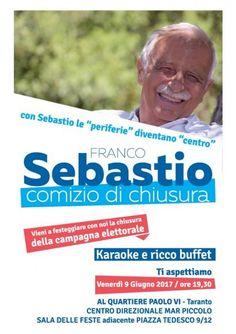 Taranto – Franco Sebastio chiude in periferia la campagna elettorale