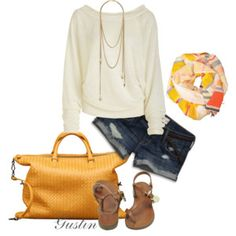 I like the cream sweater with jean shorts and brown sandals and purse, would do pop of color on scarf and earrings