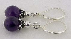 Genuine Amethyst Lever Back Sterling Silver Earrings 09 by 57north, $16.99