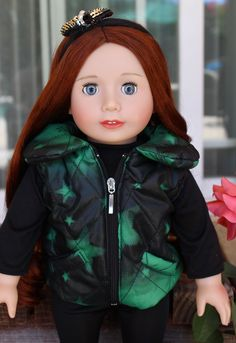 Trendy American Girl Doll Clothes are at www.harmonyclubdolls.com Our 18 inch Lyric Doll, by Harmony Club Dolls looks beautiful in green. Our Lyric Doll has cascading red hair and gorgeous blue eyes.