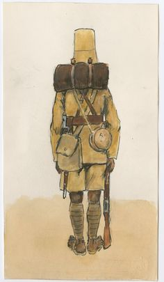 British; 3rd King's African Rifles, Marching Order, Rear view, 1904 by CCP Lawson
