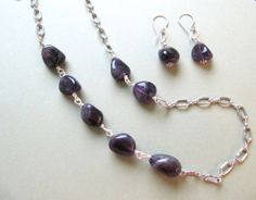 Amethyst nuggets on 30 chain w/ earrings by Ann Case, WiredWithLoveJewelry, $53.00