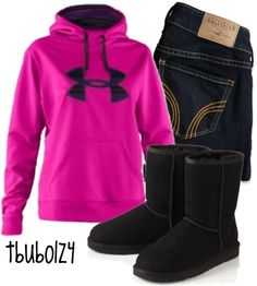 Pink under armor hoodie, black boots and jeans!