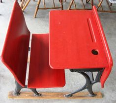 old red school desk (project color inspiration)