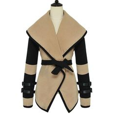 Stylish Turn-Down Collar Color Block Long Sleeve Coat For Women, APRICOT, L in Jackets & Coats | DressLily.com