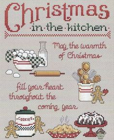Free Cross Stitch Patterns by AlitaDesigns: Christmas Cross Stitch Xmas Cross Stitch, Cross Stitch Kitchen, Counted Cross Stitch Patterns, Cross Stitch Designs, Cross Stitching, Cross Stitch Embroidery, Embroidery Patterns, Hand Embroidery, Cross Stitch Pictures