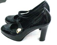 Coach Womens Black Pumps Sz 6B Leather Mary Jane Wood Stacked Heel Fara  #Coach #MaryJanes #Casual
