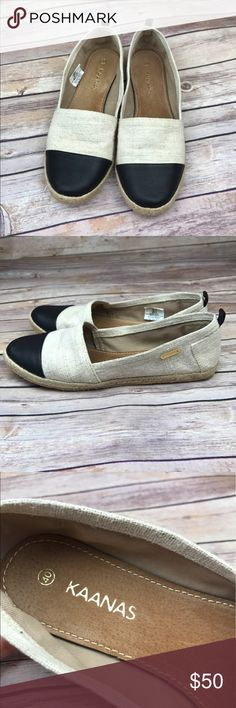 Anthropologie Kaanas Espadrille Slip On Flats Kaanas 'Marseille' espadrille slip ons in natural/black Brushed cotton with leather toe Size euro 40 which translates to a size 10. Pristine condition, worn once. MSRP $99. All measurements are approximate. Smoke free home. Anthropologie Shoes Flats & Loafers