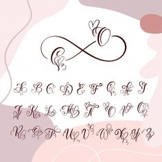 Cursive Font With Flourishes Heart Font Graffiti Lettering Fonts, Tattoo Lettering Fonts, Hand Lettering Alphabet, Creative Lettering, Lettering Styles, Lettering Ideas, Brush Lettering, Calligraphy Fonts Alphabet, Cursive Fonts