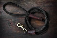 Rope & Leather Dog Leash Black and Brown Leather by natemadegoods