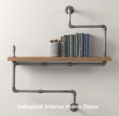 Industrial Pipe Shelf - contemporary - wall shelves - - by Restoration Hardware Baby & Child Casa Steampunk, Steampunk Home Decor, Creative Bookshelves, Bookshelf Design, Bookcase Shelves, Storage Shelving, Pipe Shelving, Pipe Bookshelf, Book Shelves
