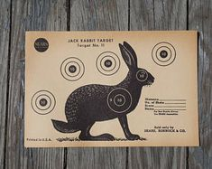 Rabbit Shooting Target. Paper J C Higgins Target.  This vintage animal target paper makes a great gift for hunters.  Or if you need to decorate a man cave!  #rabbit #bunny #hunting #gift #hunter #target #shooting