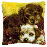 How adorable is this???  Pako 3 puppies latch hook cushion front kit
