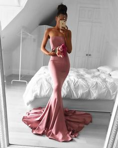 Strapless Prom Dress,Mermaid Evening Dress,Long Formal Gowns,Mermaid Bridesmaid Dresses,elegant dress