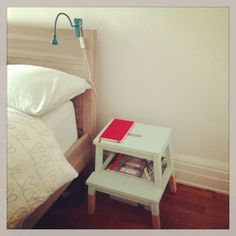 Dipped Paint Furniture: Sweet Mint by Valspar and an old, ratty Bekväm stepstool by Ikea = instant nightstand!