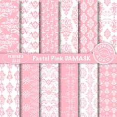 Scrapbook Pages Damask Digital Papers Royalty Free Unlimited Commercial Use, Pastel Pink White, doves, grapes, floral, paper craft decoupage by PrintableTales on Etsy https://www.etsy.com/listing/269125829/scrapbook-pages-damask-digital-papers