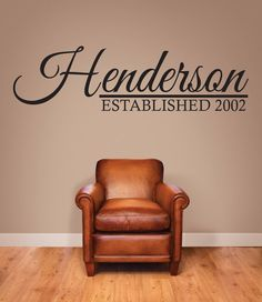 """Personalized Name Established Wall Decal 18"""" tall x 48"""" wide"""