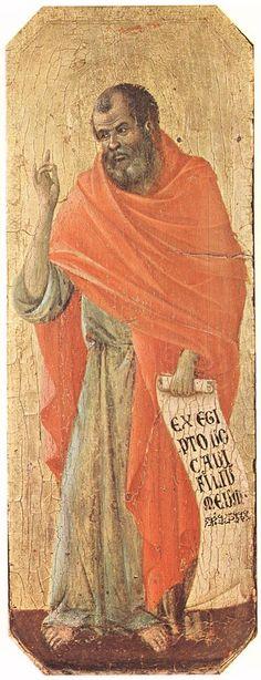 Duccio di Buoninsegna - Predella della Maestà (fronte) - Il Profeta Osea - 1308-11 - Tempera e oro su tavola - Museo dell'Opera del Duomo, Siena