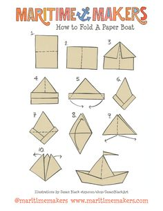 Maritime Makers, How to Fold a Paper Boat printable instructions by Susan Black Design