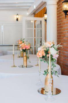 Wedding centerpieces balloon centerpieces floral garland gold peach rose gold and cream diy wedding centerpiece for a tucson az themed wedding at z mansion junglespirit Image collections