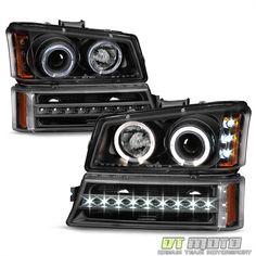 Blk 2003-2006 Chevy Silverado 1500 2500 LED Halo Headlights+LED DRL Bumper Lamps | eBay Motors, Parts & Accessories, Car & Truck Parts | eBay!
