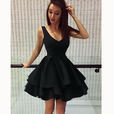 Cute Scoop Neck Black Short Prom Dress 2018 Homecoming Graduation Party Gown SP6642