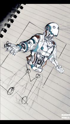 #cyberpunk #android #Robots Character And Setting, Character Design, Art Sketches, Art Drawings, Robot Parts, Robot Concept Art, Art Station, Steampunk, Robotics