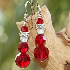 Santa Christmas Earrings Swarovski Crystal Sterling Handmade Siam Red by ShadowDogDesigns on AF