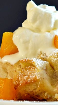 Peaches And Cream Bread Pudding From: Family Feedbag, please visit Anything treacle seems to be a favourite of Harry Potter. Weasley serves treacle pudding up in Harry Potter and the Chamber of Secrets. Sweet Desserts, Just Desserts, Delicious Desserts, Dessert Recipes, Yummy Food, Pudding Recipes, Pudding Corn, Suet Pudding, Biscuit Pudding