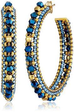 Miguel Ases Gold and Blue Beaded Hoop Earrings