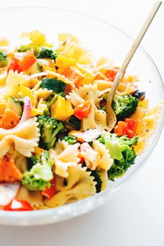 A delicious veggie packed Vegan Rainbow Pasta Salad dressed with a White Balsamic Vinegar Dressing. Healthy, Quick, Simple.
