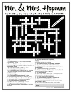 Personalized Wedding Crossword Puzzle. Use as a by rubiazul, $49.00