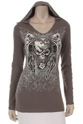 Hoodie, skull with lace panel in sleeves, Motorcycle skull hoodie plus sizes