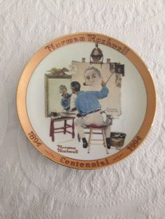 Vintage1994 Norman Rockwell Bradford Exchange Plate Triple Self Portrait 17835C
